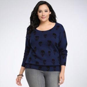 Torrid Skull Blue Sweater Size 3X